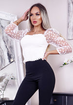 Torie White Polka Dot Shearing Mesh Sleeve Top