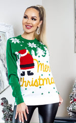 Xmas Snow Santa Green Jumper