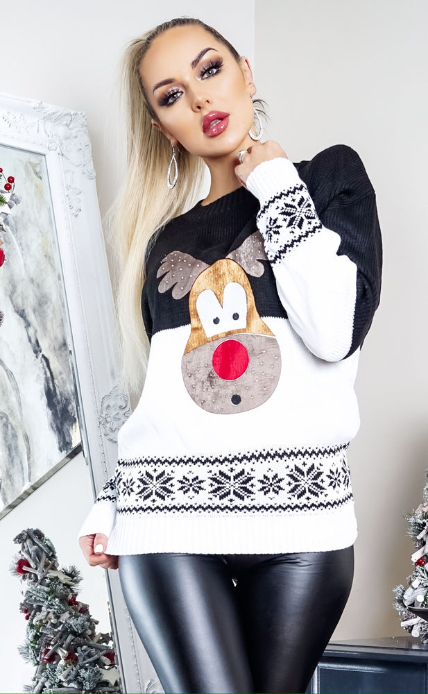 Xmas Black & White Reindeer Jumper