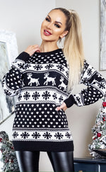 Xmas Black & White Fairisle Christmas Jumper