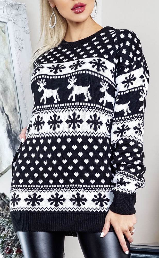 Xmas Black & White Fairisle Christmas Jumper - Missfiga.com