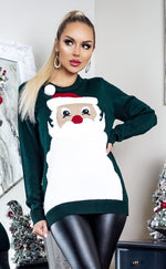 Xmas Santa Beard Holly Green Christmas Jumper