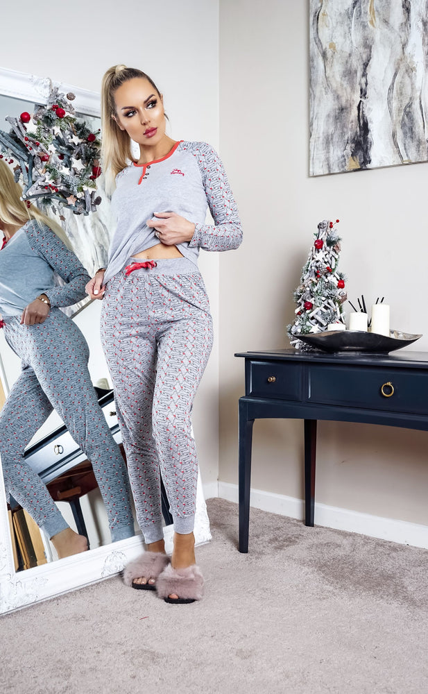 Xmas Light Grey Marl Dog Christmas PJ's