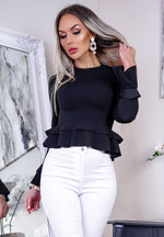 Rochelle Black Long Sleeve Peplum Top