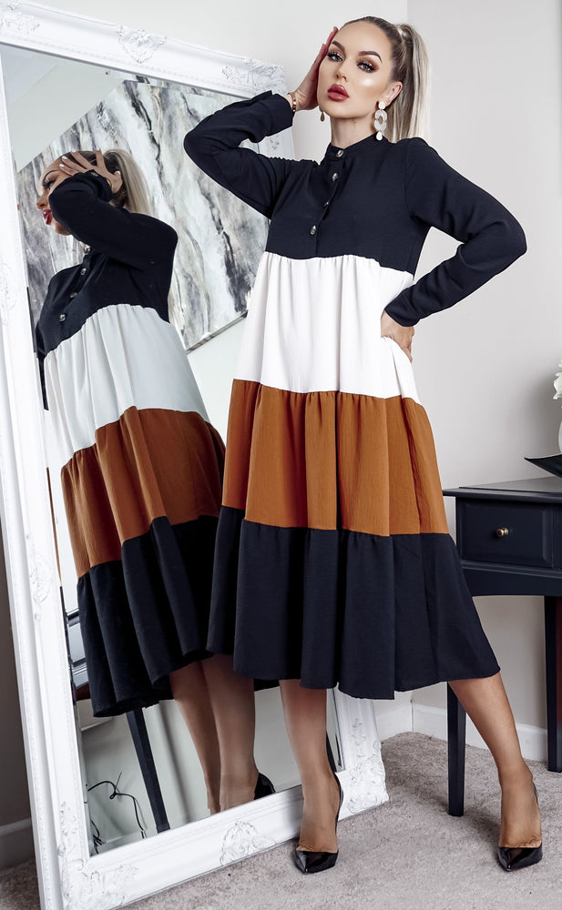 Nicole Rust Colour Block Tiered Skater Dress