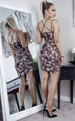 Leopard Printed Key Hole Strappy Bodycon Dress