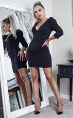 Hattie Black Plunge Neck Half Sleeve Mini Dress