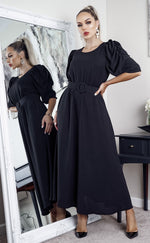 Brooklynn Black Puff Sleeve Belted Maxi Dress - Missfiga.com