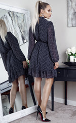 Molly Grey High Neck Animal Print Tie Waist Skater Dress - Missfiga.com