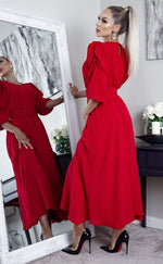 Brooklynn Red Puff Sleeve Belted Maxi Dress
