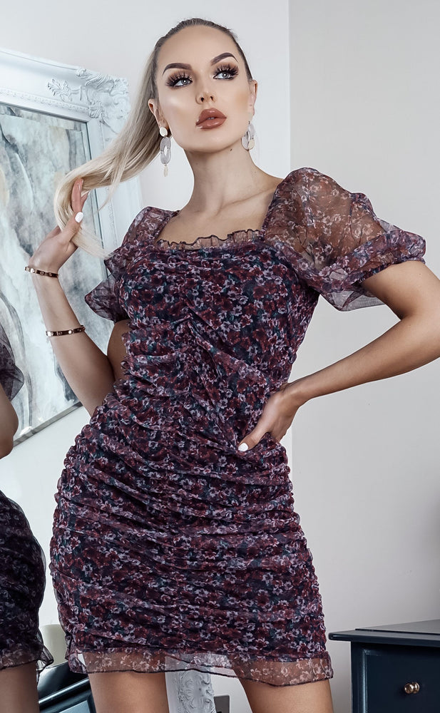 Ween Purplpe Ditsy Floral Ruched Midi Dress - Missfiga.com