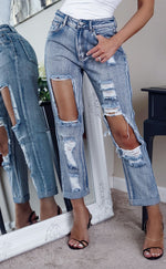 Light Blue Extreme Ripped Cropped Skinny Jeans