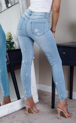 Preta Light Wash Paint Splash Ripped Skinny Jeans - Missfiga.com