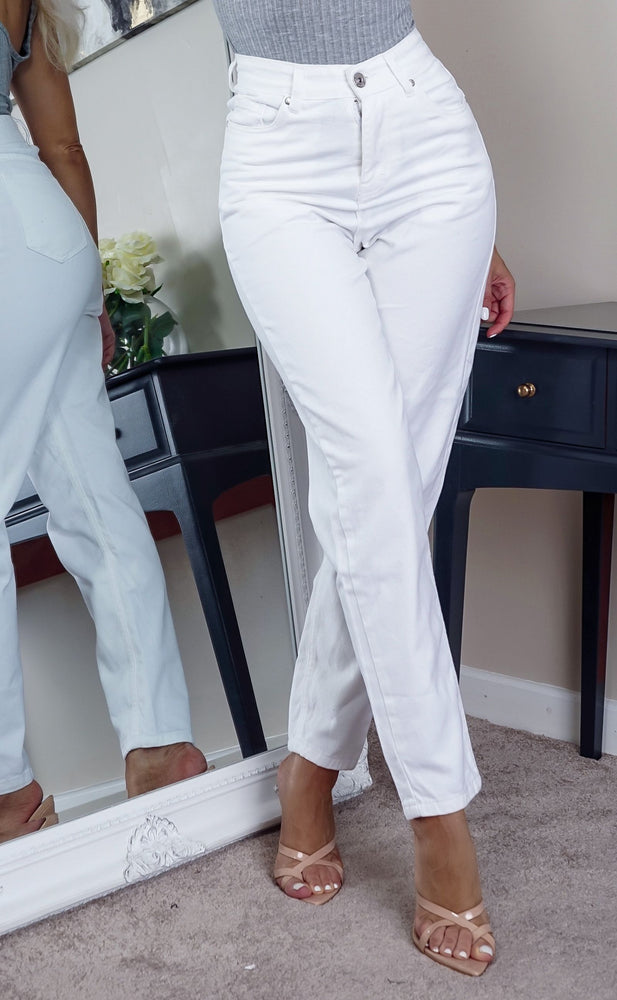 Stacey Plain White Denim Mom Jeans