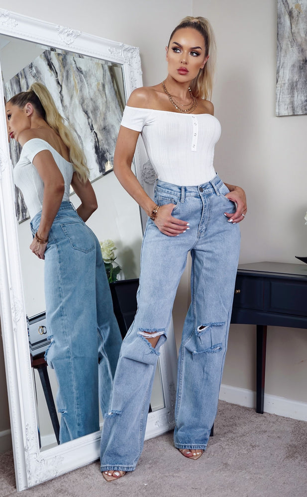 Fabs Mid Blue Denim Palazzo Jeans