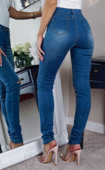 Tori Mid Blue Denim Ripped Detail Skinny Jeans