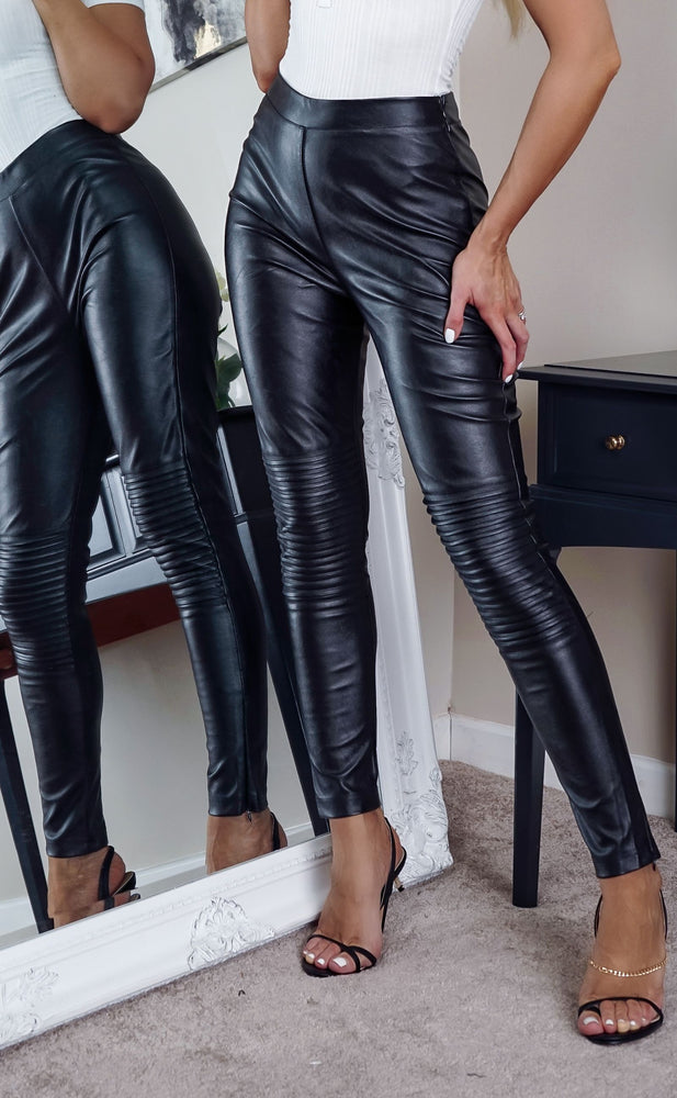 Holly Petite Black Coated PU Skinny Jeans