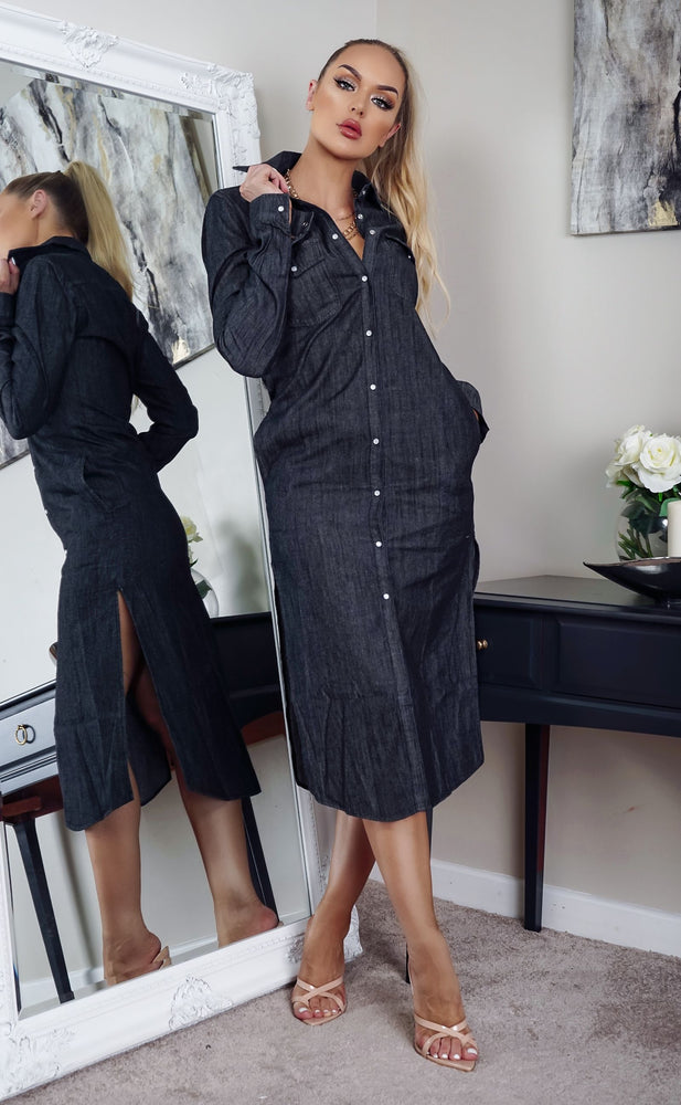 Pru Black Washed Denim Button Shirt Dress