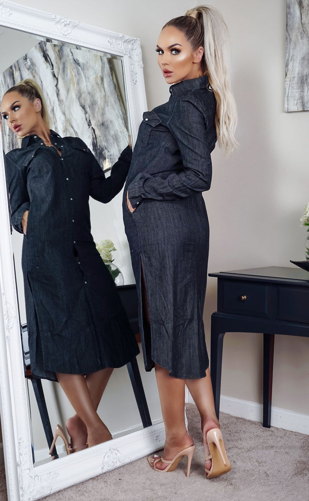 Pru Black Washed Denim Button Shirt Dress - Missfiga.com