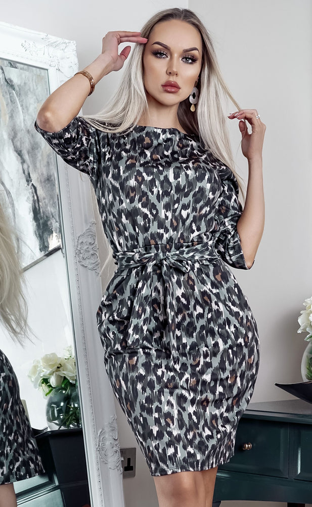 Grey Animal Pocketed Midi Dress