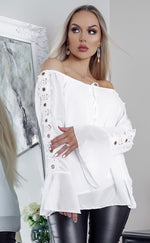 White Odessa Off the Shoulder Laser Cut Top - Missfiga.com