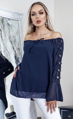 Navy Odessa Off the Shoulder Laser Cut Top