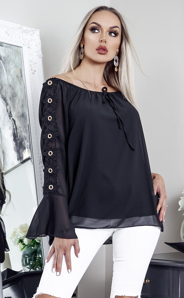 Black Odessa Off the Shoulder Laser Cut Top