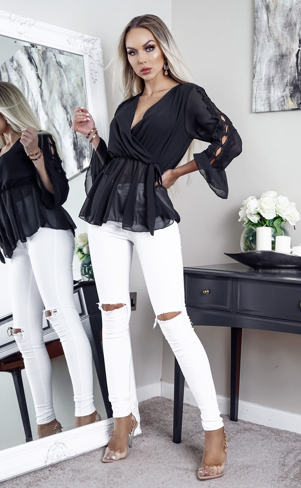 Marilyn Black Wrap Peplum Top - Missfiga.com