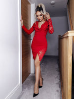 Rosaline Red Lace Wrap Asymmetric Blazer Dress