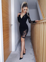 Rosaline Black Lace Wrap Asymmetric Blazer Dress - Missfiga.com