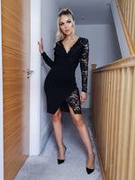 Rosaline Black Lace Wrap Asymmetric Blazer Dress
