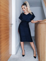 Athena Navy Ruched Front Bodycon Midi Dress - Missfiga.com
