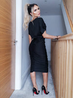 Athena Black Ruched Front Bodycon Midi Dress - Missfiga.com