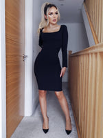 Josie Navy Slinky Long Sleeve Bodycon