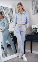 Regina Grey Cropped Hoddie 2pc Tracksuit