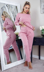 Pink Comfy Pocketed Loungewear Set - Missfiga.com