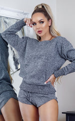 Charcoal Marl Chunky Knit Co-ord Lounge Set - Missfiga.com