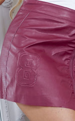 Bethea Burgundy Faux Leather Zip Up Skirt - Missfiga.com