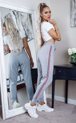 Grey Sports Red Side Stripe Joggers - Missfiga.com