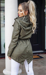 Rhea Khaki Zip Up Rain Mac Jacket - Missfiga.com