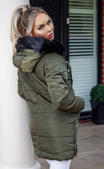 Pinter Khaki & Black Faux Fur Parka Jacket - Missfiga.com