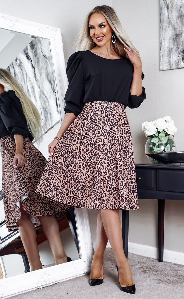 Karola Leopard Balloon Sleeve Contrast Skater Dress