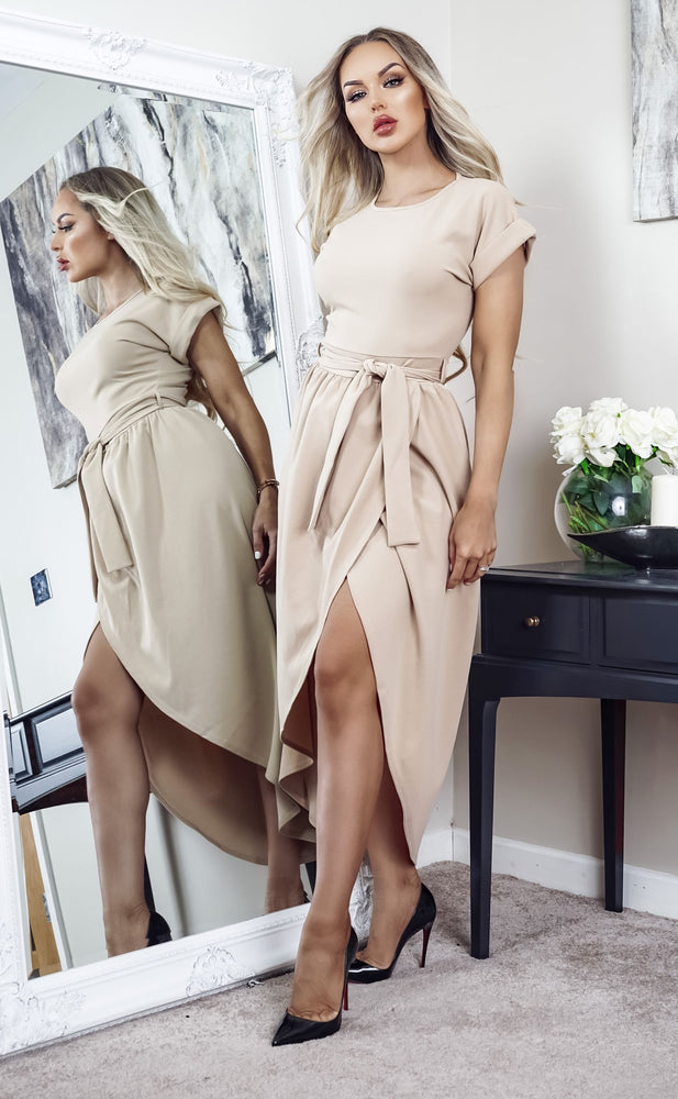 Madison Stone Short Sleeve Wrap Day Dress - Missfiga.com