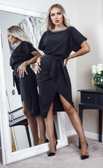 Judith Diamonte Black Wrap Front Batwing Dress - Missfiga.com