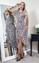 Madison Leopard Print Short Sleeve Wrap Day Dress