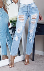 Doreen Light Blue Waisted Multi Ripped Skinny Jeans