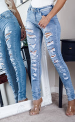 Charly Mid Blue Waisted Multi Ripped Skinny Jeans - Missfiga.com