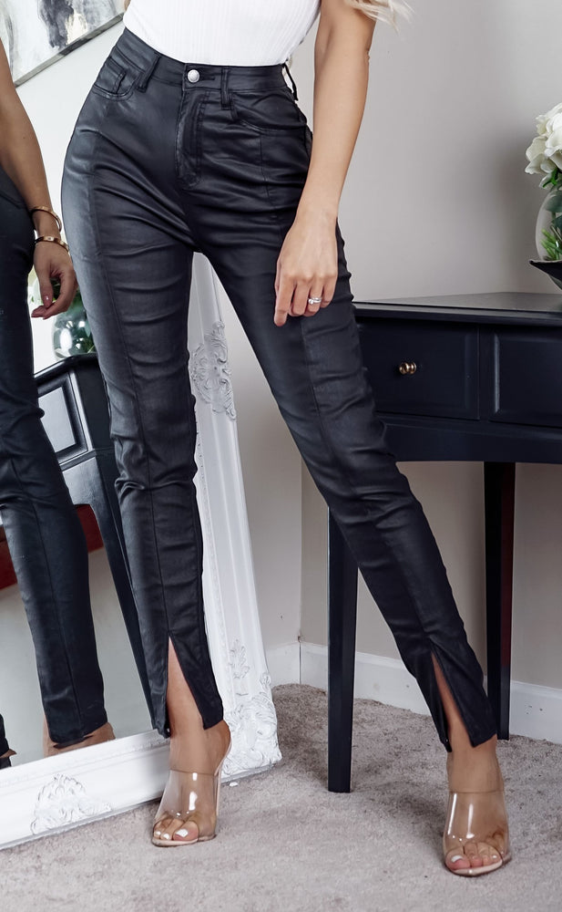 Nash PU Black Split Hem Detail Skinny Jeans