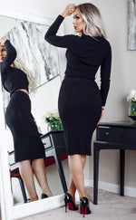 Norah Black V Neck Ribbed Co-ord Lounge Set - Missfiga.com