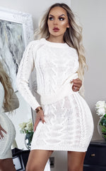 Giselle Ivory Cable Knit Long Sleeve Co-ord Set